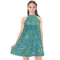 Abstract Blue Green Jungle Paisley Halter Neckline Chiffon Dress  by SpinnyChairDesigns