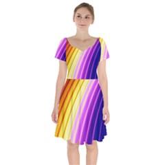 Sporty Stripes Swoosh Purple Gold Red Short Sleeve Bardot Dress