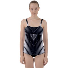 Black And Silver Pattern Twist Front Tankini Set by SpinnyChairDesigns