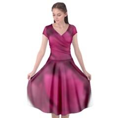 Fun Fuschia Cap Sleeve Wrap Front Dress