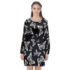 Black And White Butterfly Pattern Long Sleeve Chiffon Shift Dress  by SpinnyChairDesigns