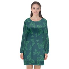 Midnight Green Butterflies Pattern Long Sleeve Chiffon Shift Dress  by SpinnyChairDesigns