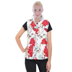 Floral Pattern  Women s Button Up Vest by Sobalvarro