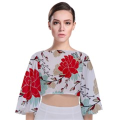 Floral Pattern  Tie Back Butterfly Sleeve Chiffon Top by Sobalvarro
