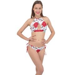 Floral Pattern  Cross Front Halter Bikini Set by Sobalvarro