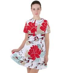 Floral Pattern  Short Sleeve Shoulder Cut Out Dress  by Sobalvarro