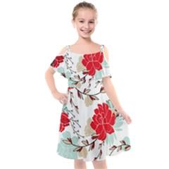Floral Pattern  Kids  Cut Out Shoulders Chiffon Dress by Sobalvarro