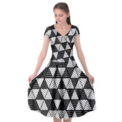 Black And White Triangles Pattern Cap Sleeve Wrap Front Dress by SpinnyChairDesigns