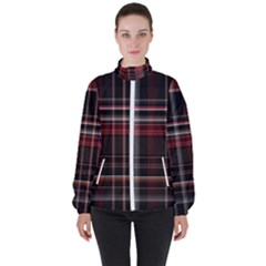 Red Black White Plaid Stripes Women s High Neck Windbreaker by SpinnyChairDesigns