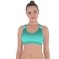 Teal Turquoise Green Gradient Ombre Cross String Back Sports Bra by SpinnyChairDesigns
