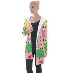 Cats And Fruits  Longline Hooded Cardigan by Sobalvarro