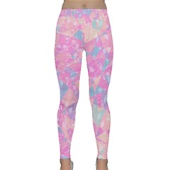 Pink Blue Peach Color Mosaic Classic Yoga Leggings by SpinnyChairDesigns