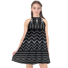 Black And White Minimalist Stripes  Halter Neckline Chiffon Dress  by SpinnyChairDesigns