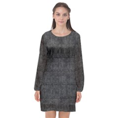 Matte Charcoal Black Color  Long Sleeve Chiffon Shift Dress  by SpinnyChairDesigns
