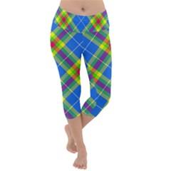 Clown Costume Plaid Striped Lightweight Velour Capri Yoga Leggings by SpinnyChairDesigns