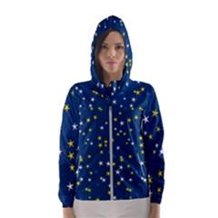 White Yellow Stars On Blue Color Women s Hooded Windbreaker