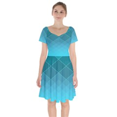Aqua Blue And Teal Color Diamonds Short Sleeve Bardot Dress by SpinnyChairDesigns