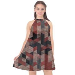 Auburn Grey And Tan Truchet Tiles Halter Neckline Chiffon Dress  by SpinnyChairDesigns