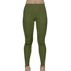 Army Green Solid Color Classic Yoga Leggings by SpinnyChairDesigns