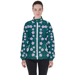 Porcelain Flowers  On Leaves Women s High Neck Windbreaker by pepitasart
