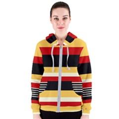 Contrast Yellow With Red Women s Zipper Hoodie by tmsartbazaar