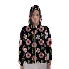 Flower Black Pattern Floral Women s Hooded Windbreaker
