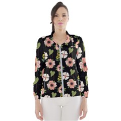 Flower Black Pattern Floral Women s Windbreaker