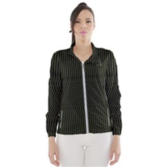 Army Green Black Stripes Women s Windbreaker by SpinnyChairDesigns