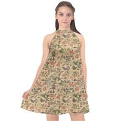 Folk Tree Fabric Background Large Halter Neckline Chiffon Dress