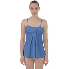 Faded Blue Color Babydoll Tankini Set by SpinnyChairDesigns