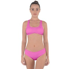 Hot Hollywood Pink Color Criss Cross Bikini Set by SpinnyChairDesigns