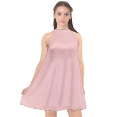 Baby Pink Color Halter Neckline Chiffon Dress  by SpinnyChairDesigns