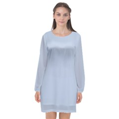 Light Steel Blue Color Long Sleeve Chiffon Shift Dress  by SpinnyChairDesigns
