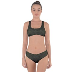 Army Green Color Textured Criss Cross Bikini Set by SpinnyChairDesigns