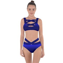 Cobalt Blue Gradient Ombre Color Bandaged Up Bikini Set  by SpinnyChairDesigns