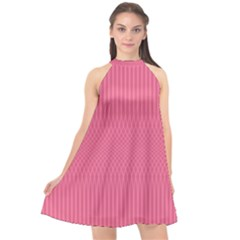 Blush Pink Color Stripes Halter Neckline Chiffon Dress