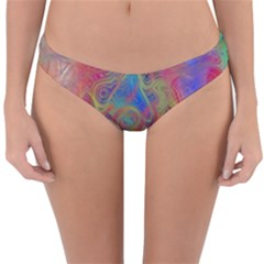 Boho Tie Dye Rainbow Reversible Hipster Bikini Bottoms by SpinnyChairDesigns