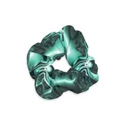 Biscay Green Black Abstract Art Velvet Scrunchie by SpinnyChairDesigns
