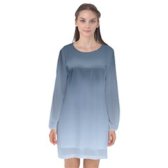Faded Denim Blue Ombre Gradient Long Sleeve Chiffon Shift Dress  by SpinnyChairDesigns