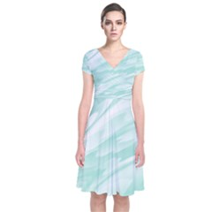 Biscay Green White Feathered Swoosh Short Sleeve Front Wrap Dress by SpinnyChairDesigns