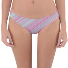 Turquoise And Pink Striped Reversible Hipster Bikini Bottoms by SpinnyChairDesigns