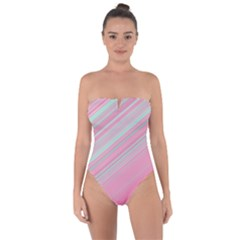 Turquoise And Pink Striped Tie Back One Piece Swimsuit