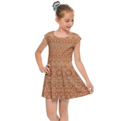Boho Fancy Peach  Kids  Cap Sleeve Dress by SpinnyChairDesigns