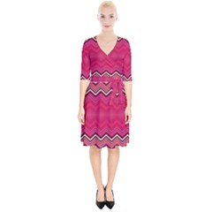 Boho Aztec Stripes Rose Pink Wrap Up Cocktail Dress by SpinnyChairDesigns