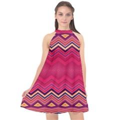 Boho Aztec Stripes Rose Pink Halter Neckline Chiffon Dress  by SpinnyChairDesigns
