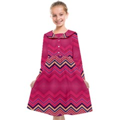 Boho Aztec Stripes Rose Pink Kids  Midi Sailor Dress by SpinnyChairDesigns