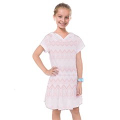 Boho Pastel Pink Pattern Kids  Drop Waist Dress by SpinnyChairDesigns
