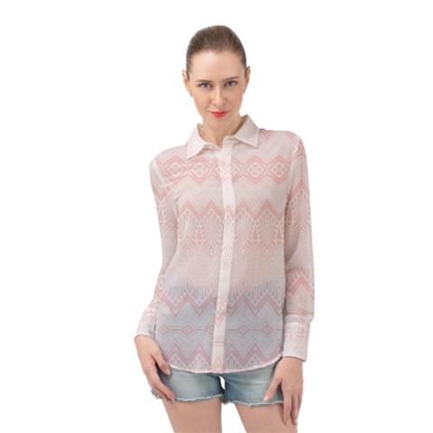 Boho Pastel Pink Pattern Long Sleeve Chiffon Shirt by SpinnyChairDesigns