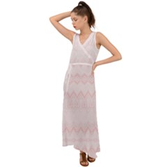 Boho Pastel Pink Pattern V-neck Chiffon Maxi Dress by SpinnyChairDesigns