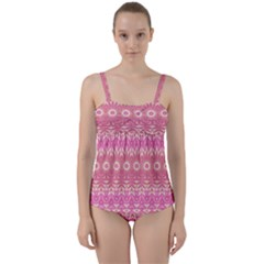 Boho Pink Floral Pattern Twist Front Tankini Set by SpinnyChairDesigns